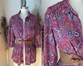 Vintage burgundy paisly top