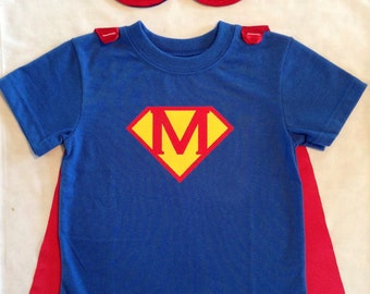 Personalized Superboy T-Shirt with Detachable Satin Cape and Reversible Mask, Children and Toddler Super Hero Apparel or Costume