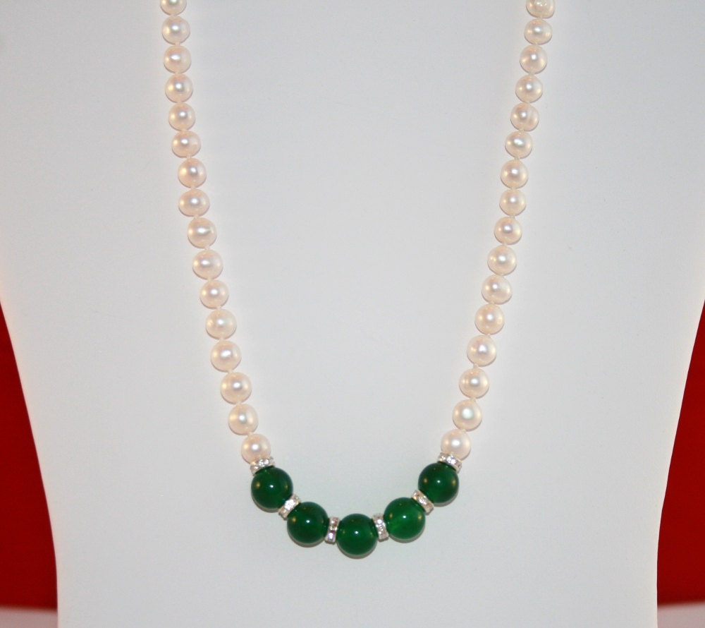 Pearl Necklace Akoya: SALE: Akoya Pearl Necklace Emerald Necklace By