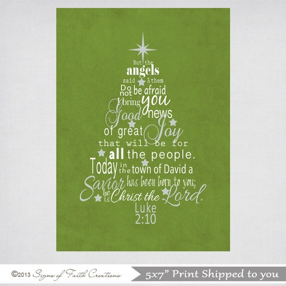Subway Art Christmas Tree Wall Art With Luke 2 10 11 Bible