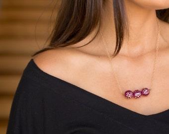 Gypsy Art Deco Gold Filled Bar Necklace Magenta Pink
