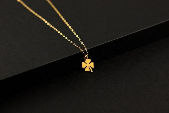4 Leaf Clover Necklace, Little Shamrock Good Luck Charm, Lucky Four Leaf Clover Pendant, Bridal Shower,Gifts for Best Friends, SILVER / GOLD