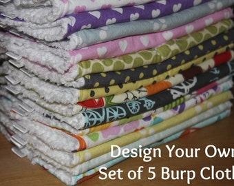 RESERVED FOR SUE P - Design Your Own - Set of 9 Cloth Diaper Burp Cloths - You Choose Your Fabric