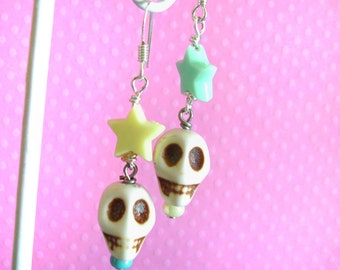Kawaii Earrings with Skulls and Cute Stars for Halloween, Pastel Goth Fairy Kei Jewelry, Handmade Gifts for Her on Etsy by FrostedSoSweet