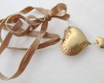SALE - VALENTINE, Gold Vermeil Hearts on Velvet Ribbon