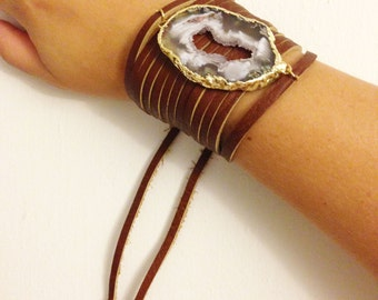 Geode Slice Leather Cuff