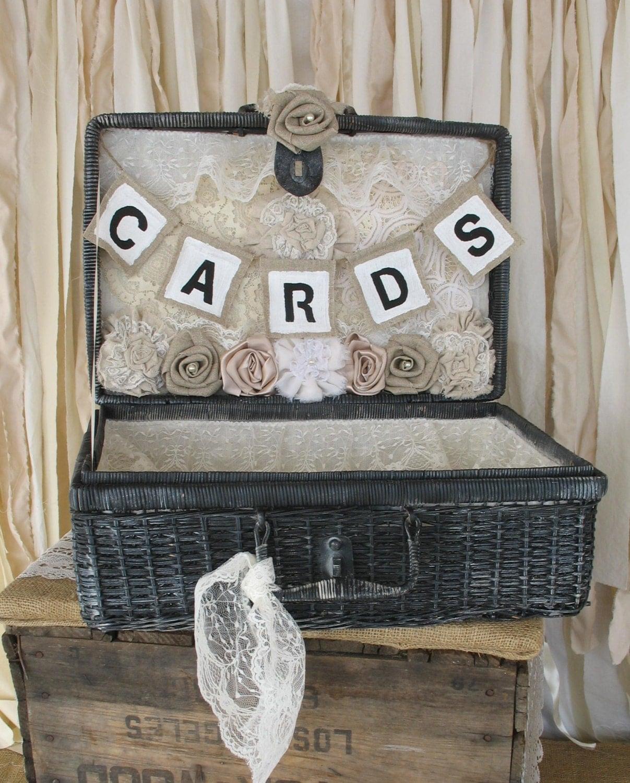 Card Holder Country Wedding Ideas: Vintage Wedding Card Holder Rustic Wedding Picnic Basket