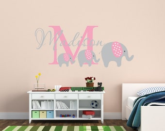 Elephant Decal Name Wall Decal Elephant Wall Decal Elephants - Nursery wall decals elephant