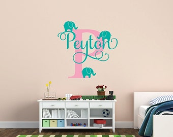 Personalized Name Decal With Elephants Nursery Decor - Kids Room Teen Name Vinyl Wall Decal Elephant Decal