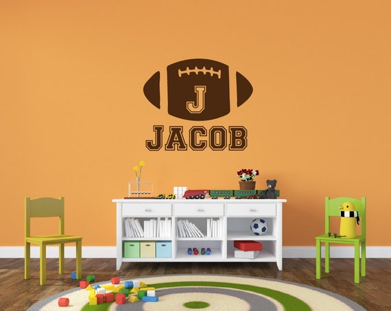 Personalized football name decal sports decor kids room teen for Kids sports room decor
