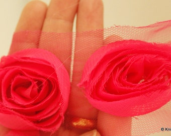 Fuchsia Rose One Yard Lace Trims Approx. 6 cm Wide