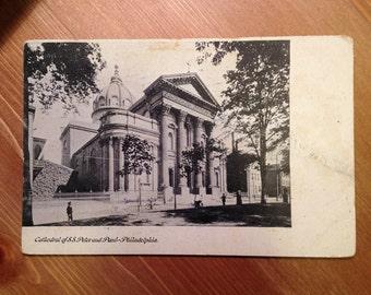 Antique Postcard - Cathedral of S.S. Peter and Paul, Philadelphia, Pennsylvania 1900s Vintage Paper Ephemera