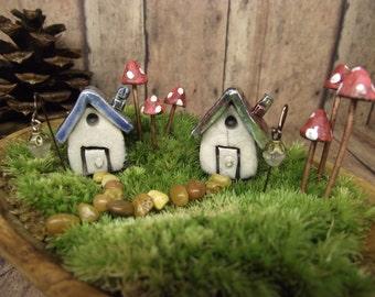 Miniature House - set of two Raku Fired 6 Glow in the Dark Mushrooms and 2 Glow in the Dark lanterns. Terrarium accessories by Gypsy Raku