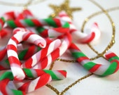 Christmas Peppermint Candy Canes, Red White and Green Canes, Christmas Decoration, Ornament, Lot