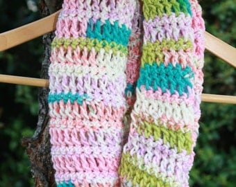 13. Crochet Infinity Scarf Cowl Neck: Sherbert