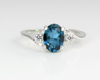 Natural London Blue Topaz & Sapphires Ring Sterling Silver / Gemstone Ring London Blue Topaz Silver Ring