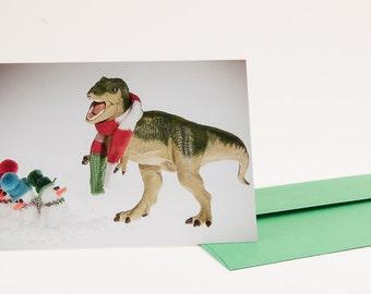 T-Rex and Snowmen Caroling: Christmas Card