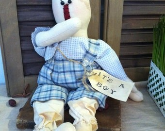 "Primitive Raggedy Andy Baby Boy Doll ""It's A BOY"""