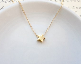 Tiny star necklace, Wedding jewelry, Bridesmaid gift, Simple everyday necklace