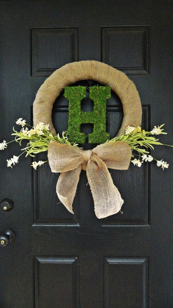 items similar to spring and summer wildflower  burlap  moss monogram front door wreath or