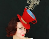 REMODEL SALE / In-Stock: Mad Hatter Tea Cup Red Felt Tilt Hat with Iridescent Liquid Beverage and Curling Feather for Steam