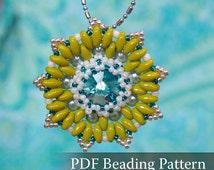 Oasis Pendant Beading pattern, Swarovski Rivoli and Super Duo bead pendant beading tutorial, PDF