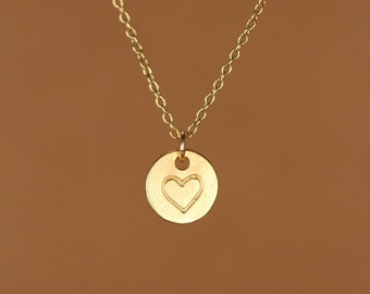 Heart necklace - heart stamp - valentines necklace - love necklace - bff - a 22k gold plated heart disc on a 14k gold vermeil chain