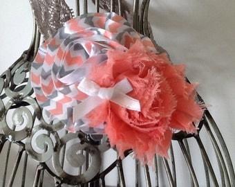 Gray and coral headband, gray lace headband, coral flower headband, girls headband, baby headband, flower headband hair accessory