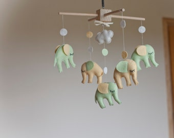 Baby mobile - elephant mobile - neutral mobiles/ pastel mobile/ baby crib mobile - mint, yellow/baby gift/ gifts for - customize your colors