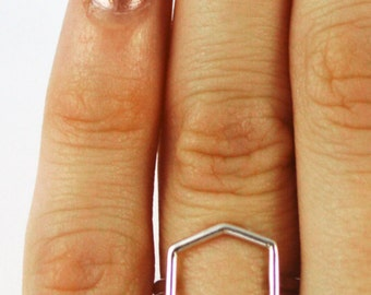 Silver Hexagon Ring Size 6.5