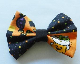 Small Halloween Hello Kitty Fabric Hair Bow Clip Barrette