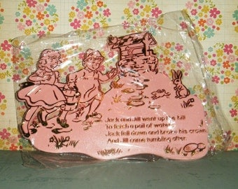 Jack & Jill Vintage 1960's Nursery Rhyme PINK Wall Decoration Baby's Room ADORABLE   MIP