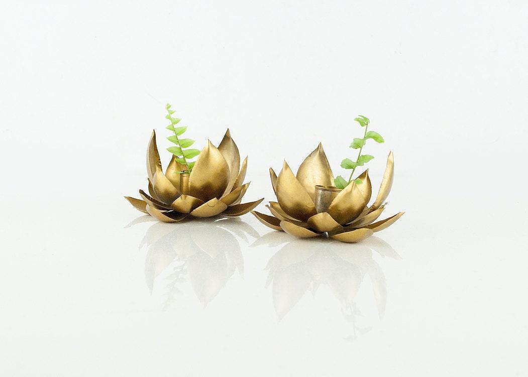 vintage pair lotus candle holders by sadrosetta on etsy