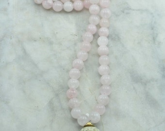 Rose Mala Necklace - Rose Quartz Mala Beads and Wood, Buddhist Prayer Beads, 108 Mala Beads for hope, love, purity of heart