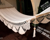 "White Handwoven Hammock Natural Cotton / Thread Thickness ""42"" Very Durable"