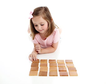 Wooden Memory Game - Classic Matching Game for Toddler or Preschooler - Montessori Inspired Educational Wooden Toy - Gift for Boy or Girl