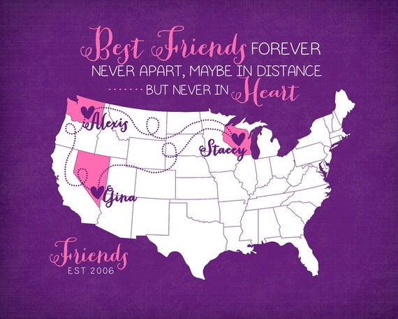 Birthday Quotes For A Friend Miles Away : Birthday gift long distance best friends quote by