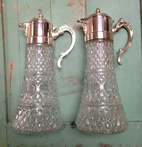 Pair 2 Towle William Adams Crystal Cut Glass And Silver Wine