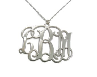 Monogram Initial Personalized Necklace 1.25 inch - Sterling silver 925. monogram jewelry.
