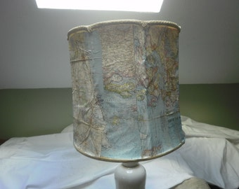 Lamp Shade Embellished with World Map