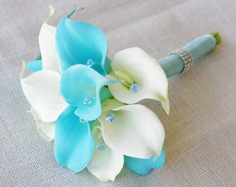 Silk Flower Wedding Bouquet - Turquoise Aqua Aruba Blue Calla Lilies Natural Touch with Crystals Silk Bridal Teal Bouquet