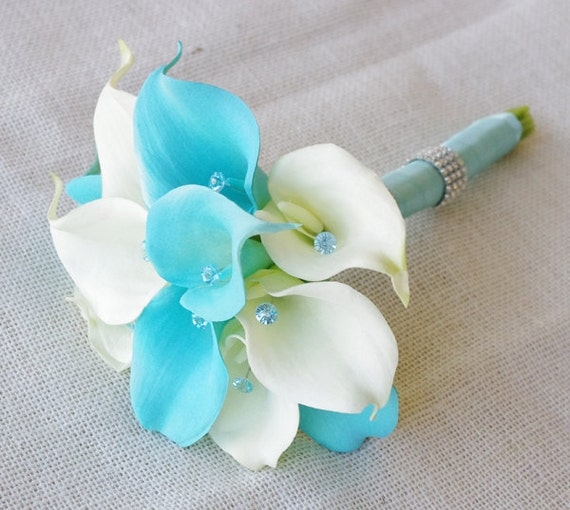 silk flower wedding bouquet turquoise aqua aruba blue calla. Black Bedroom Furniture Sets. Home Design Ideas