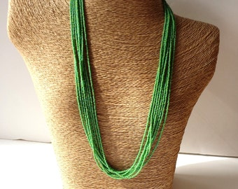 Woodbine necklace, seed bead necklace,beaded necklace,lime green,light green necklace, bridesmaid gift, yellowgreen necklace,boho, statement