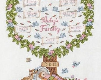 Baby's Family Tree Custom Cross Stitched Pedigree Genealogy personalized for you
