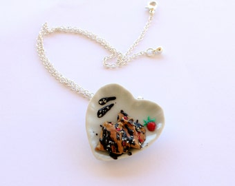 Crepes miniature dessert necklace, kawaii polymer clay food silver plated chain necklace