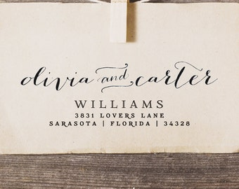 Personalized Stamp Address : Custom rubber stamp for personal wedding gift calligraphy