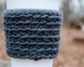 Charcoal Grey Crochet Coffee Cozy