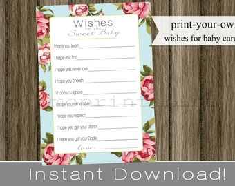 Wishes for Baby girl cards, blue with pink roses, printable  INSTANT DOWNLOAD diy digital file, print your own, babyshower, baby shower idea