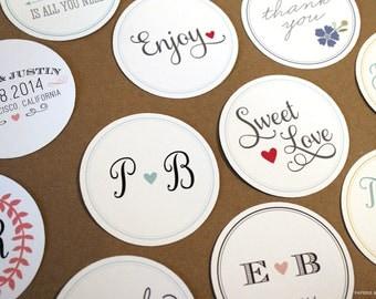 100 Custom Wedding Stickers / Favor Bags / Birthday Stickers / Paper Bags / Wedding Favor / Cookie Bags / Custom Stickers