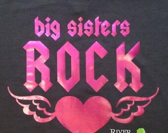 Toddler BIG SISTERS ROCK, girls toddler foil shiny tee shirt